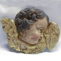Figura religiosa de ángel policromada, con pan de oro