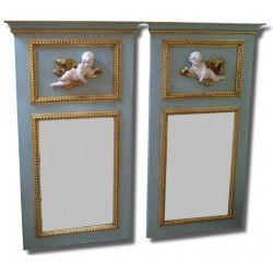 Pair of trumeau mirror with angel