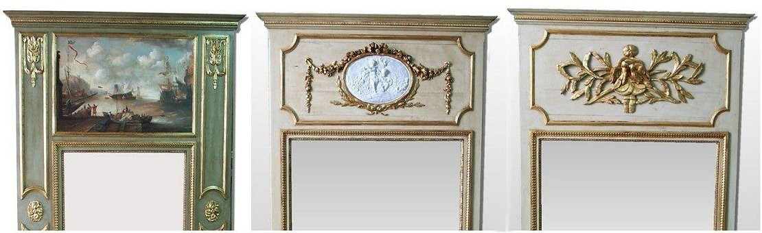 Louis XVI custom trumeau mirror,wood paneling and woodwork manufacturer